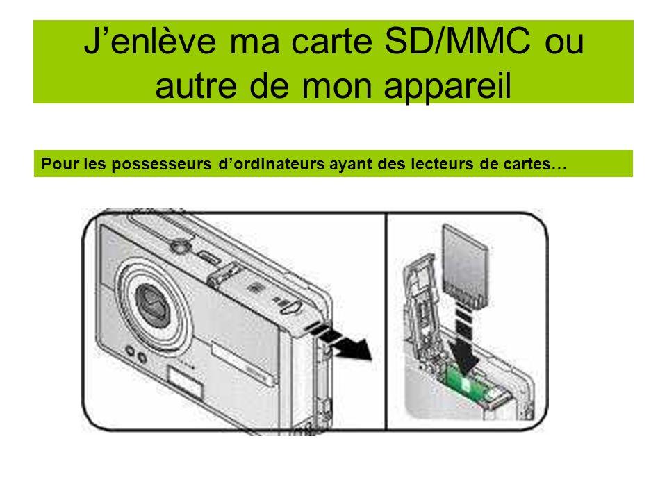 J'enlève ma carte SD/MMC ou autre de mon appareil