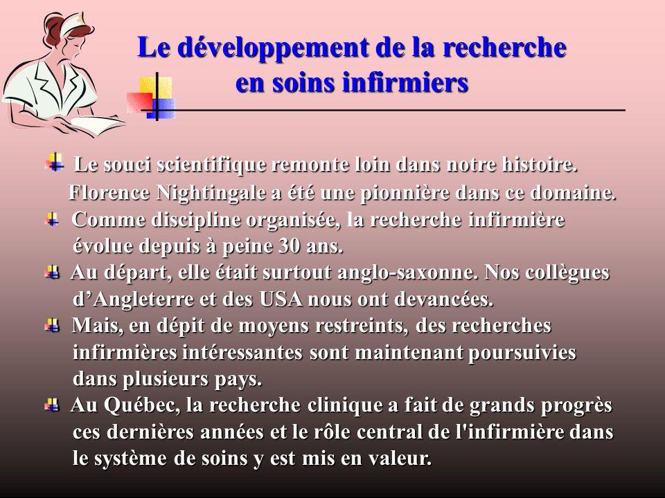 Le développement de la recherche en soins infirmiers
