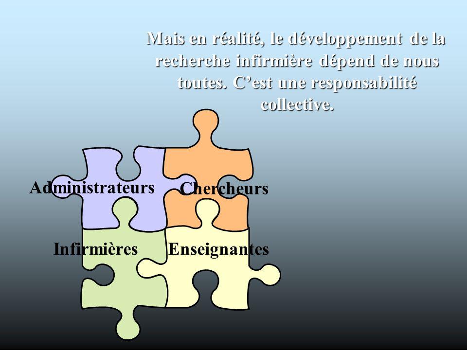 Mais en réalité, le développement de la recherche infirmière dépend de nous toutes. C'est une responsabilité collective.