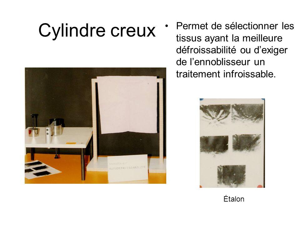 Cylindre creux Permet de sélectionner les tissus ayant la meilleure défroissabilité ou d'exiger de l'ennoblisseur un traitement infroissable.