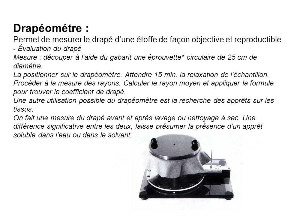Drapéométre : Permet de mesurer le drapé d'une étoffe de façon objective et reproductible.