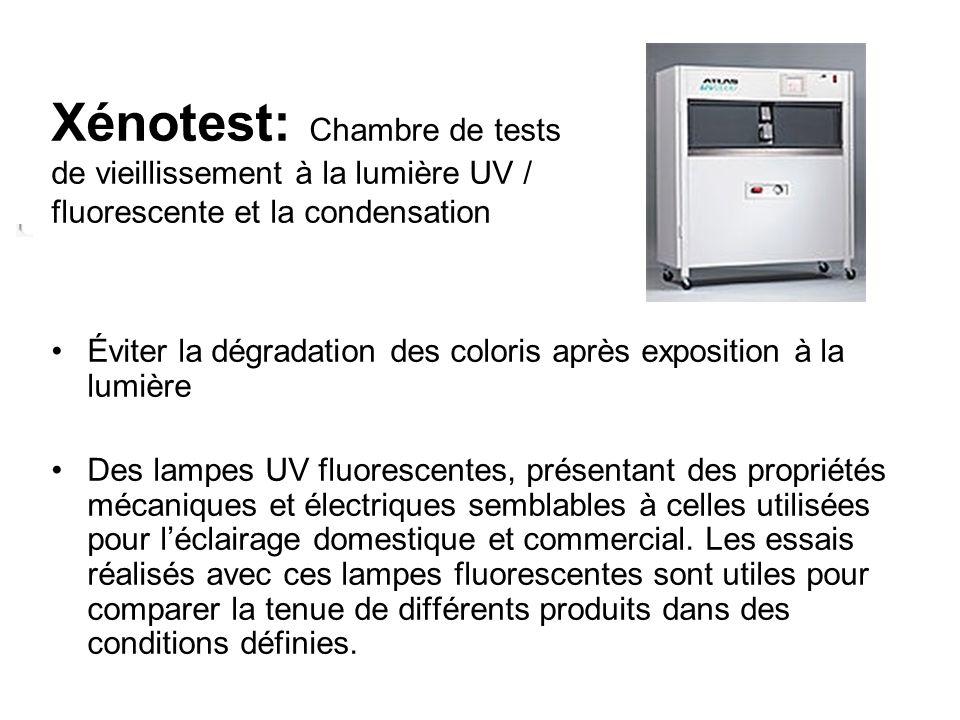 Xénotest: Chambre de tests de vieillissement à la lumière UV / fluorescente et la condensation.