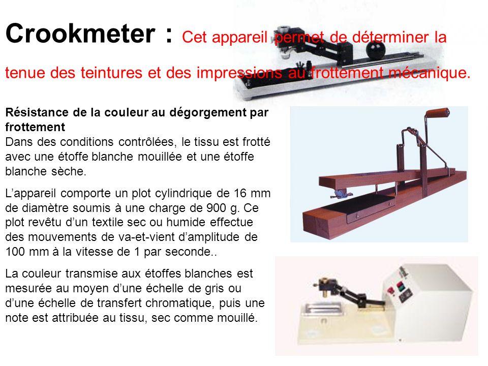 Crookmeter : Cet appareil permet de déterminer la tenue des teintures et des impressions au frottement mécanique.
