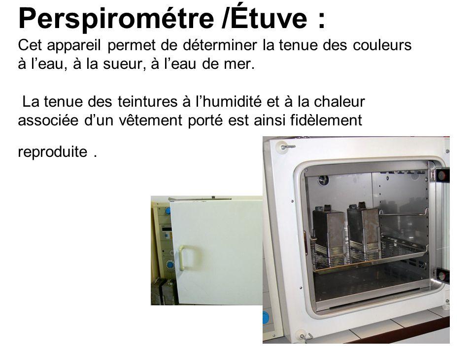 Perspirométre /Étuve : Cet appareil permet de déterminer la tenue des couleurs à l'eau, à la sueur, à l'eau de mer.