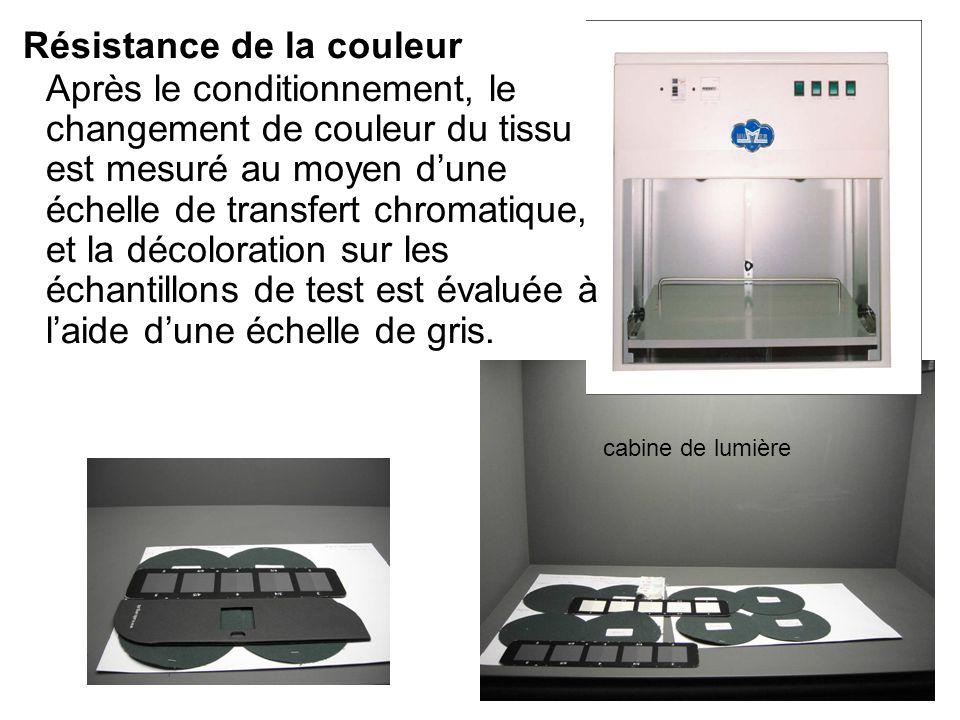 Résistance de la couleur Après le conditionnement, le changement de couleur du tissu est mesuré au moyen d'une échelle de transfert chromatique, et la décoloration sur les échantillons de test est évaluée à l'aide d'une échelle de gris.