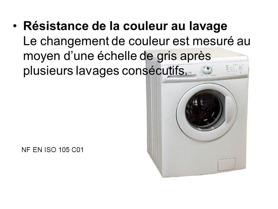 Résistance de la couleur au lavage Le changement de couleur est mesuré au moyen d'une échelle de gris après plusieurs lavages consécutifs.