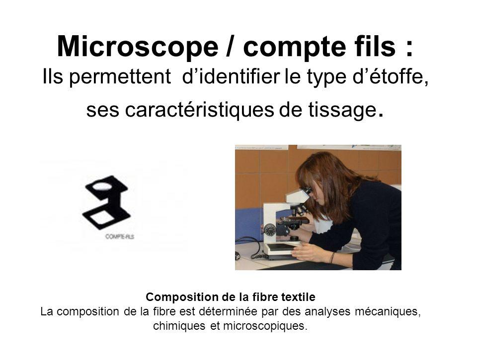 Microscope / compte fils : Ils permettent d'identifier le type d'étoffe, ses caractéristiques de tissage.