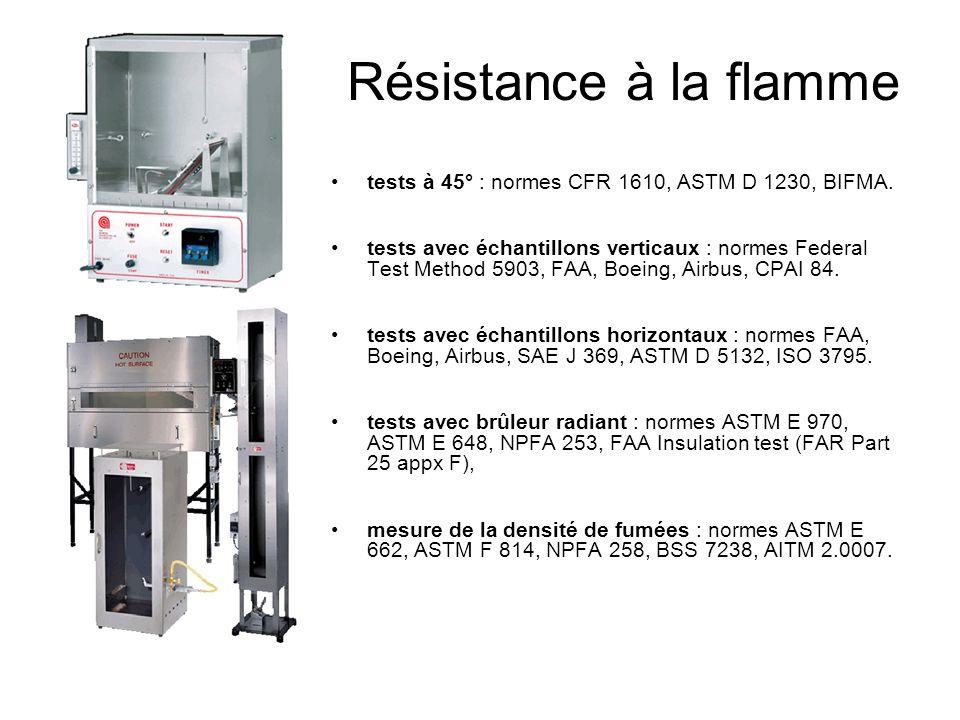 Résistance à la flamme tests à 45° : normes CFR 1610, ASTM D 1230, BIFMA.