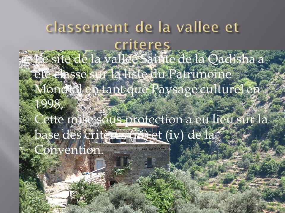 classement de la vallee et criteres