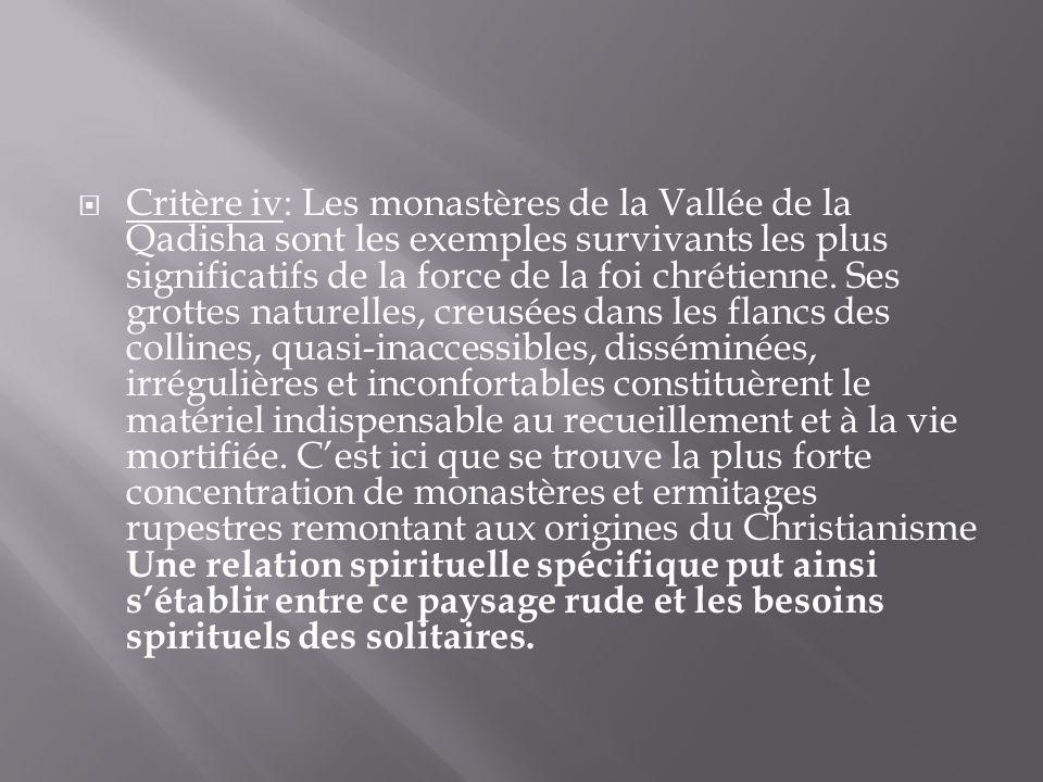 Critère iv: Les monastères de la Vallée de la Qadisha sont les exemples survivants les plus significatifs de la force de la foi chrétienne.