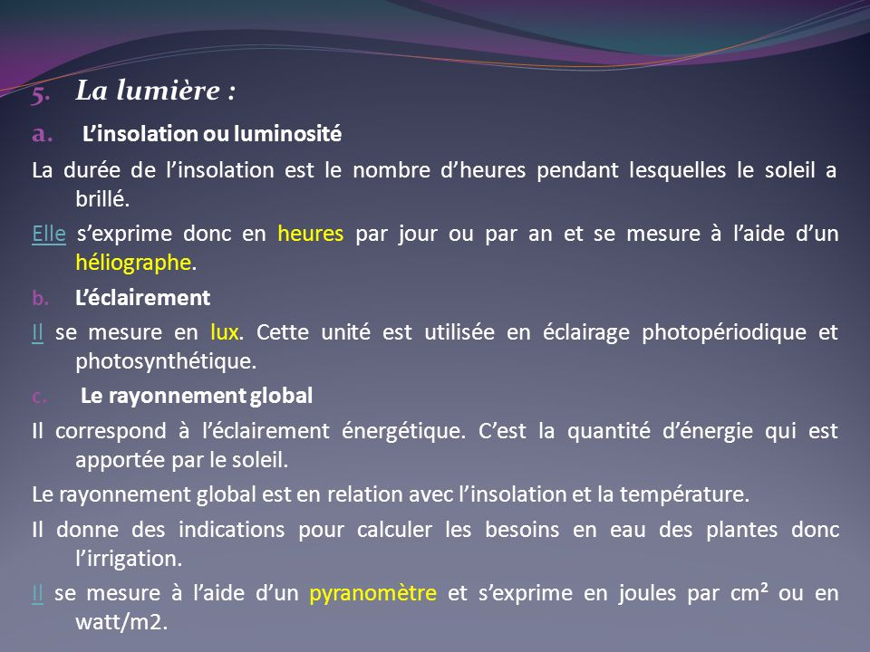 L'insolation ou luminosité