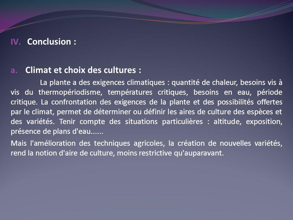 Climat et choix des cultures :