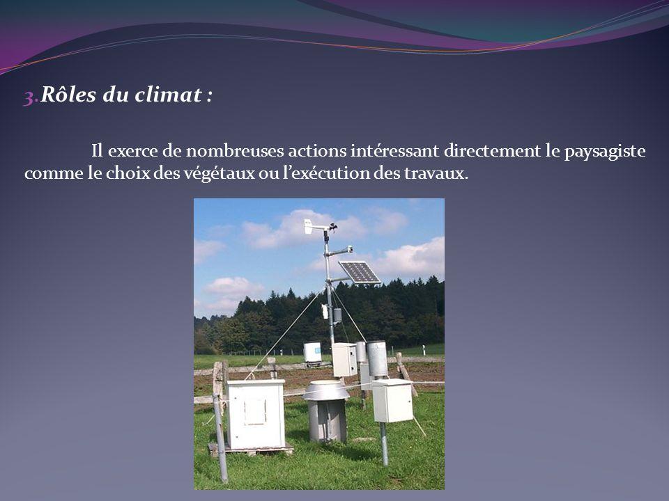 Rôles du climat : Il exerce de nombreuses actions intéressant directement le paysagiste comme le choix des végétaux ou l'exécution des travaux.
