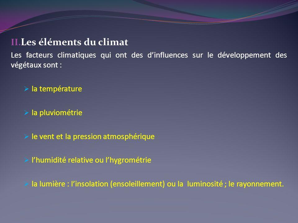 Les éléments du climat Les facteurs climatiques qui ont des d'influences sur le développement des végétaux sont :