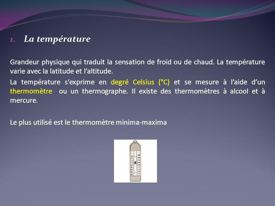 La température Grandeur physique qui traduit la sensation de froid ou de chaud. La température varie avec la latitude et l'altitude.