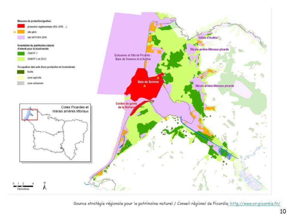 Source stratégie régionale pour le patrimoine naturel / Conseil régional de Picardie, http://www.cr-picardie.fr/