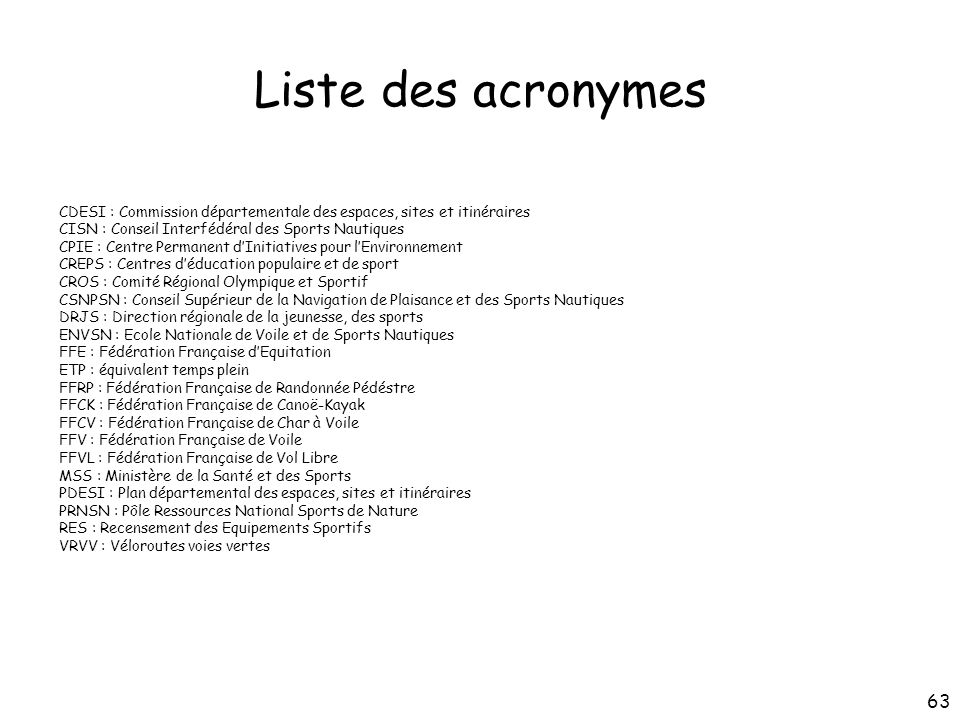 Liste des acronymes CDESI : Commission départementale des espaces, sites et itinéraires. CISN : Conseil Interfédéral des Sports Nautiques.