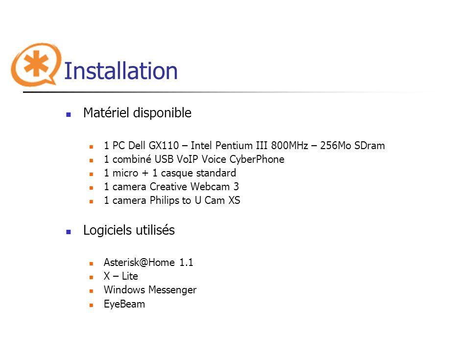 Installation Matériel disponible Logiciels utilisés