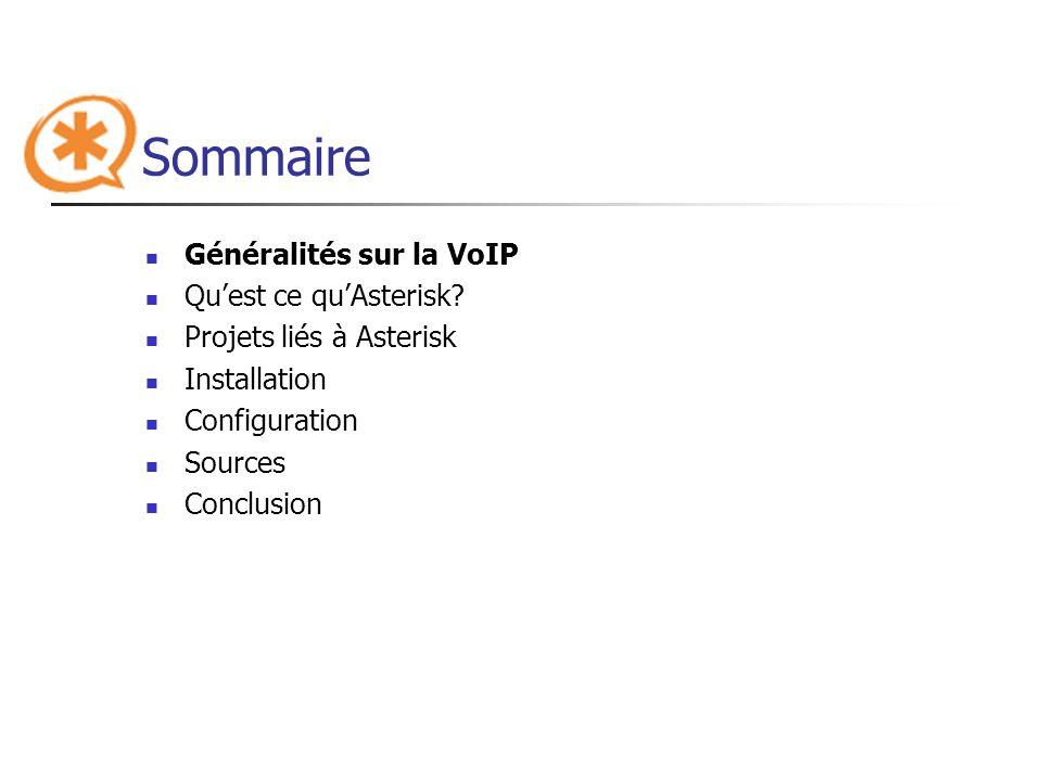 Sommaire Généralités sur la VoIP Qu'est ce qu'Asterisk