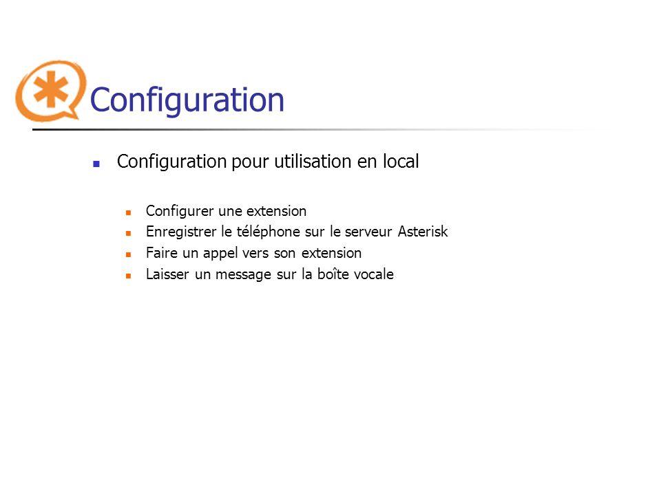 Configuration Configuration pour utilisation en local