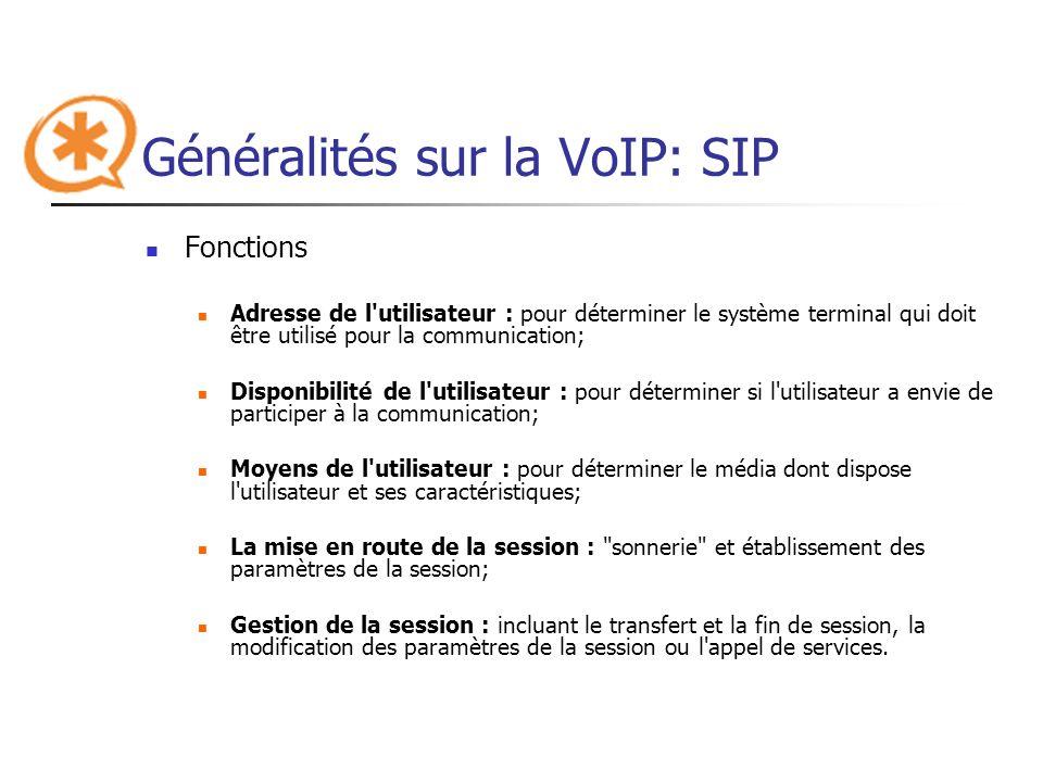 Généralités sur la VoIP: SIP
