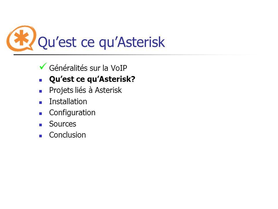 Qu'est ce qu'Asterisk Généralités sur la VoIP Qu'est ce qu'Asterisk