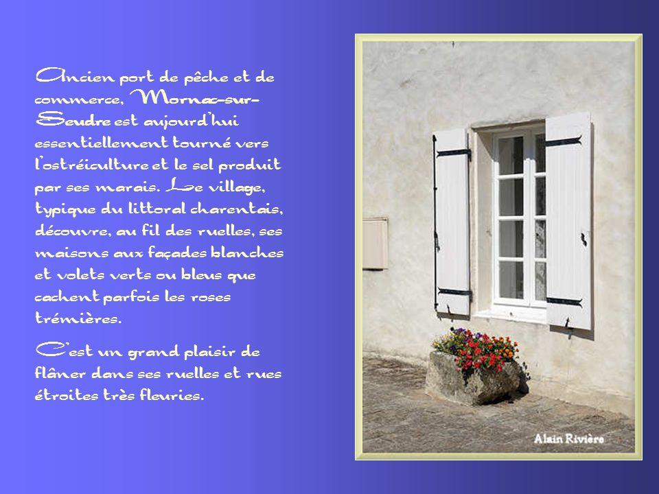 Ancien port de pêche et de commerce, Mornac-sur-Seudre est aujourd'hui essentiellement tourné vers l'ostréiculture et le sel produit par ses marais. Le village, typique du littoral charentais, découvre, au fil des ruelles, ses maisons aux façades blanches et volets verts ou bleus que cachent parfois les roses trémières.