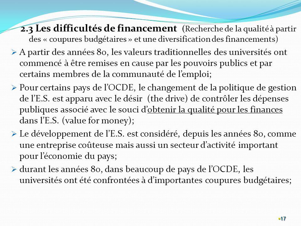 2.3 Les difficultés de financement (Recherche de la qualité à partir des « coupures budgétaires » et une diversification des financements)