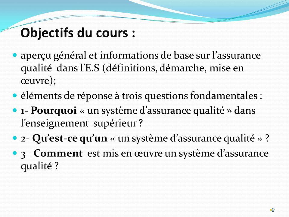 Objectifs du cours : aperçu général et informations de base sur l'assurance qualité dans l'E.S (définitions, démarche, mise en œuvre);