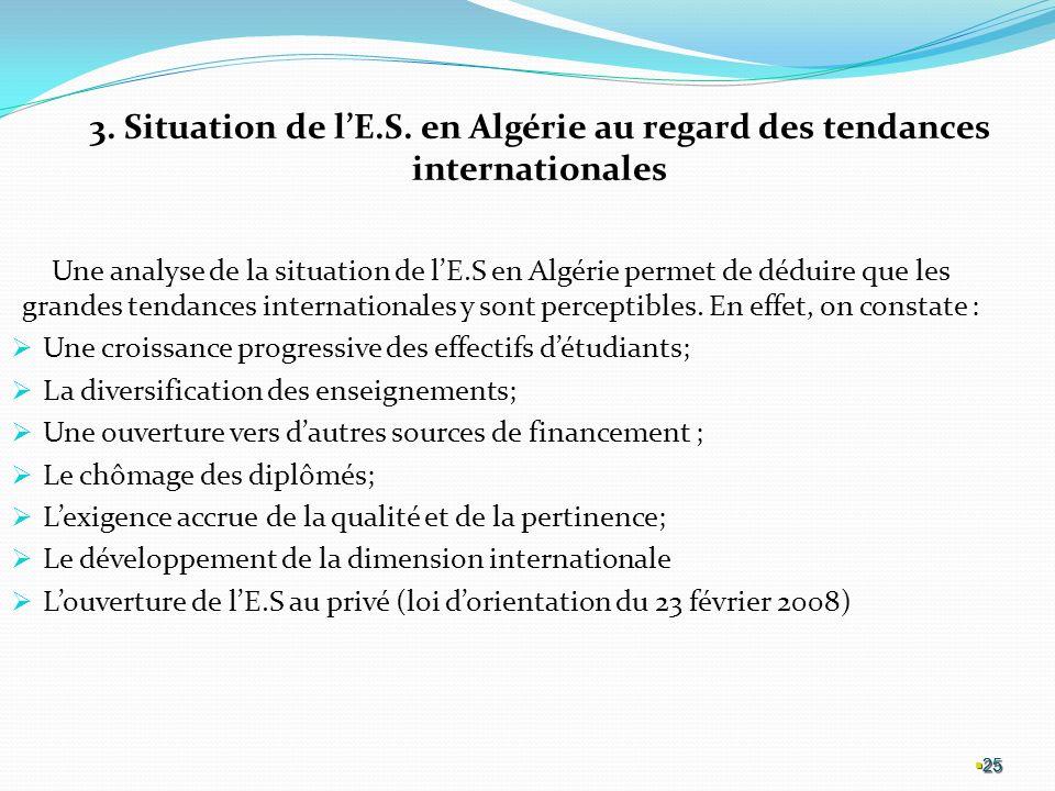 3. Situation de l'E.S. en Algérie au regard des tendances internationales