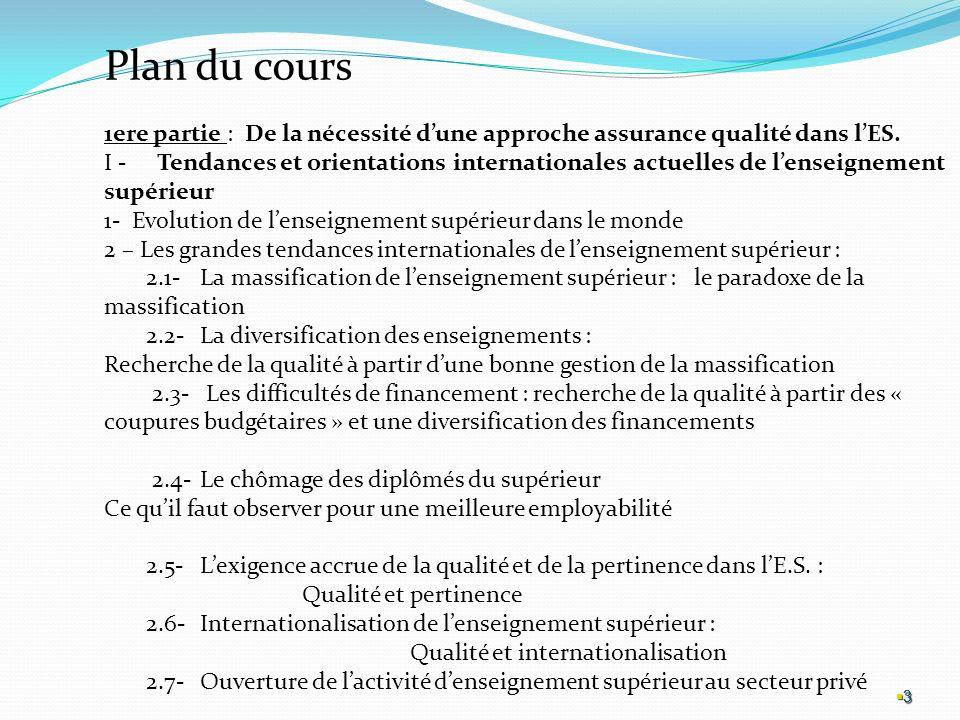 Plan du cours 1ere partie : De la nécessité d'une approche assurance qualité dans l'ES.