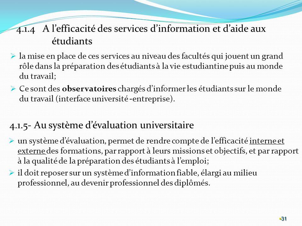 4.1.5- Au système d'évaluation universitaire