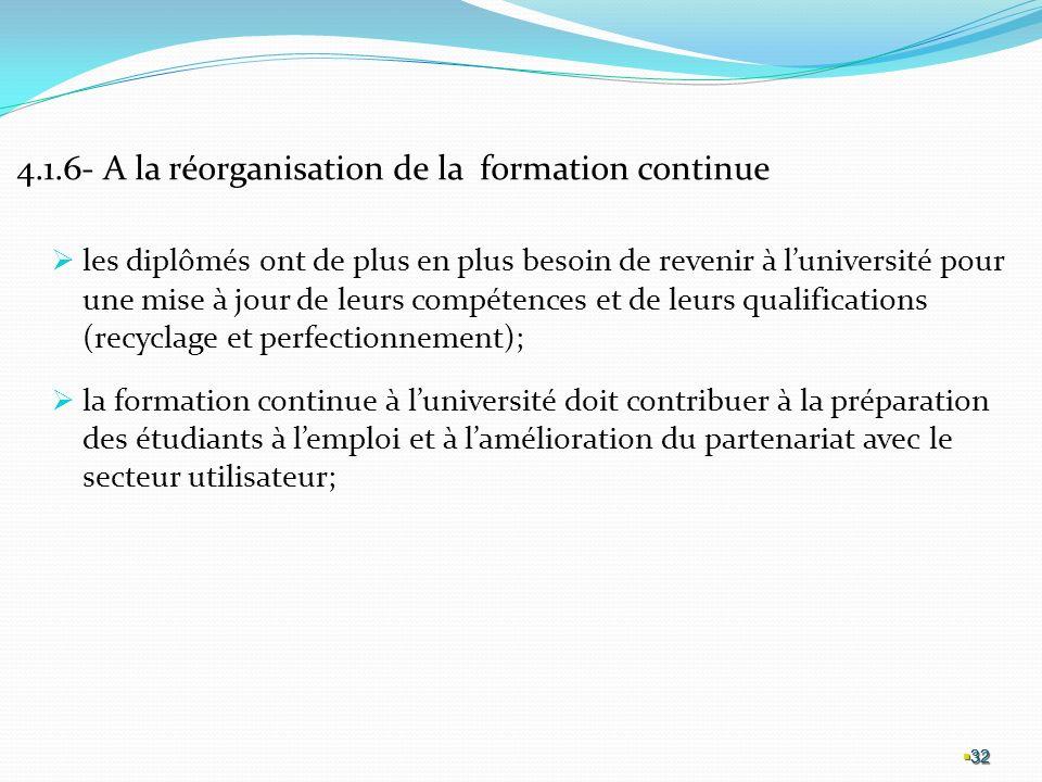 4.1.6- A la réorganisation de la formation continue