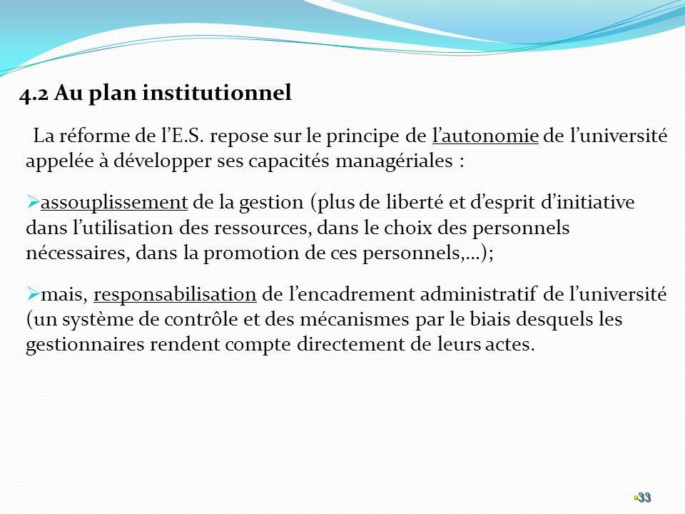 4.2 Au plan institutionnel