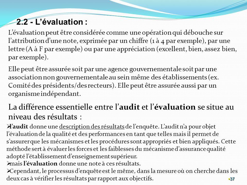 2.2 - L'évaluation :