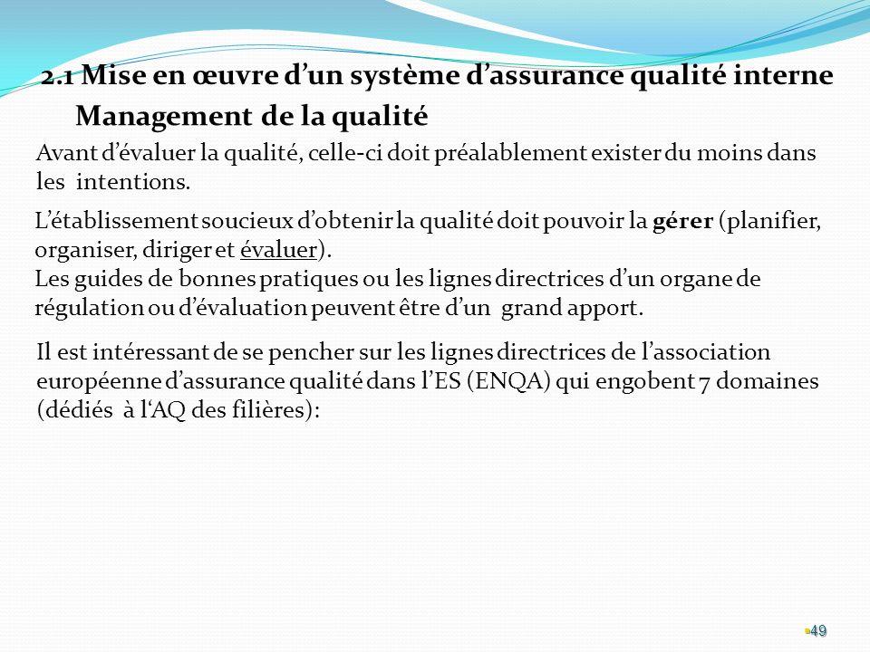 2.1 Mise en œuvre d'un système d'assurance qualité interne