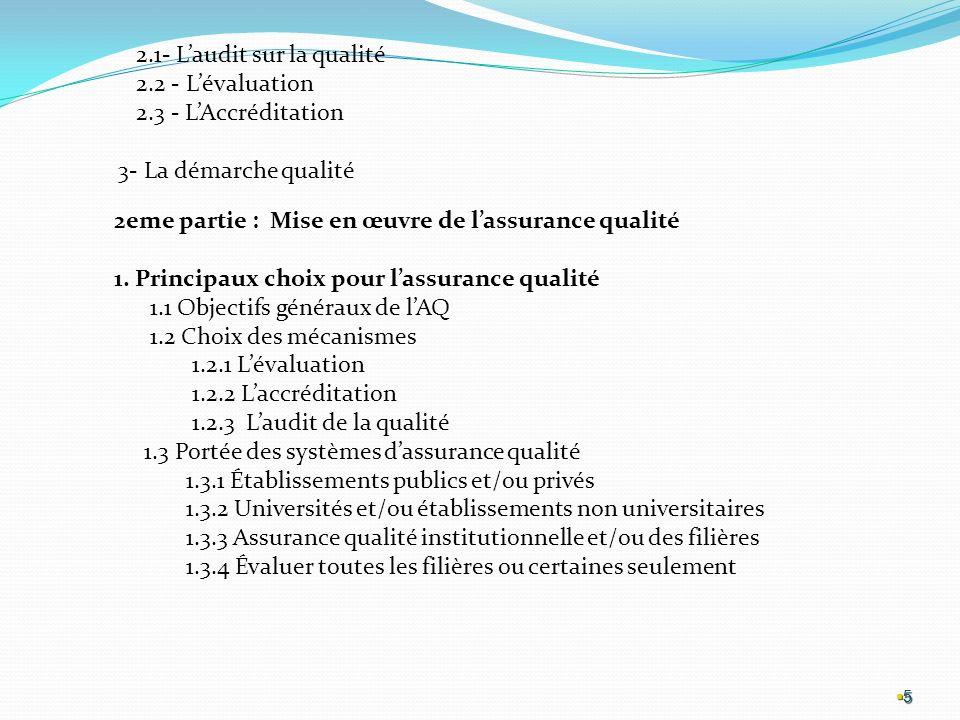 2.1- L'audit sur la qualité 2.2 - L'évaluation 2.3 - L'Accréditation