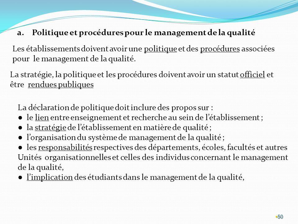 Politique et procédures pour le management de la qualité