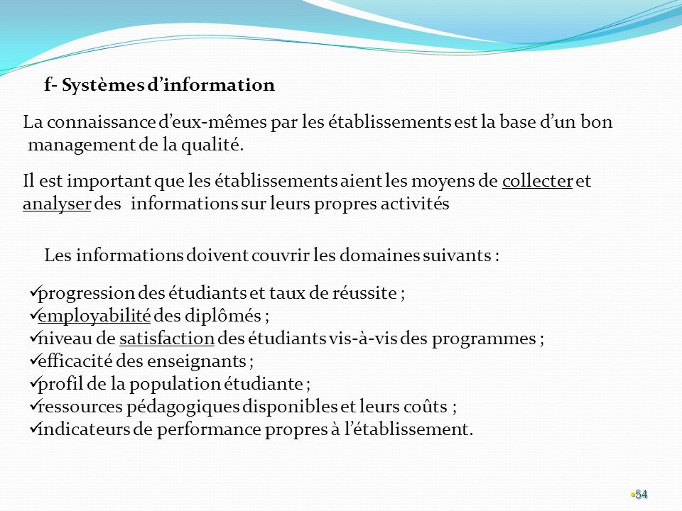f- Systèmes d'information
