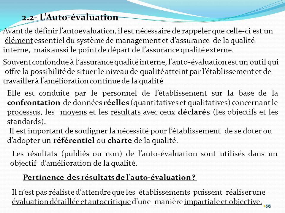 2.2- L'Auto-évaluation Avant de définir l'autoévaluation, il est nécessaire de rappeler que celle-ci est un.