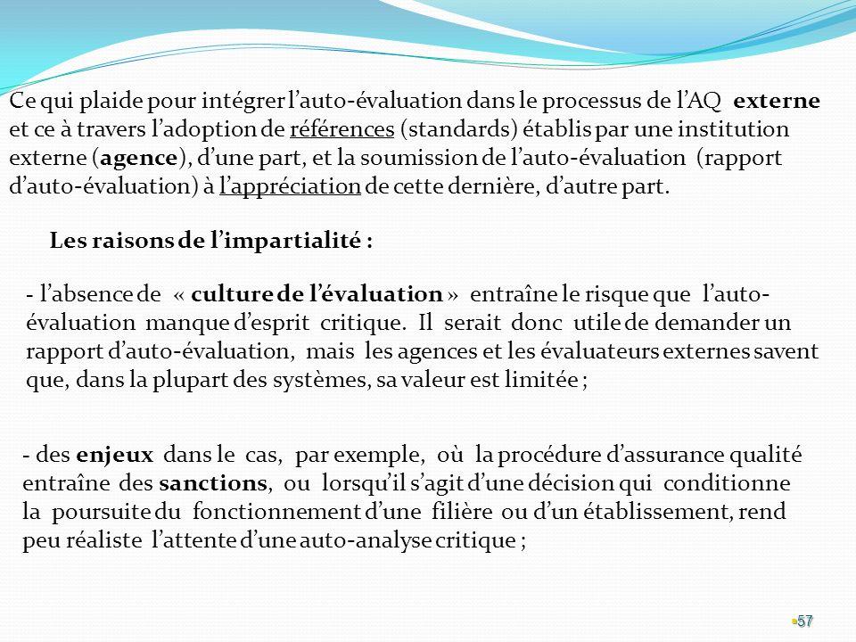 Ce qui plaide pour intégrer l'auto-évaluation dans le processus de l'AQ externe et ce à travers l'adoption de références (standards) établis par une institution externe (agence), d'une part, et la soumission de l'auto-évaluation (rapport d'auto-évaluation) à l'appréciation de cette dernière, d'autre part.