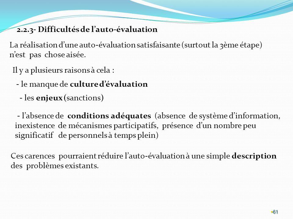 2.2.3- Difficultés de l'auto-évaluation