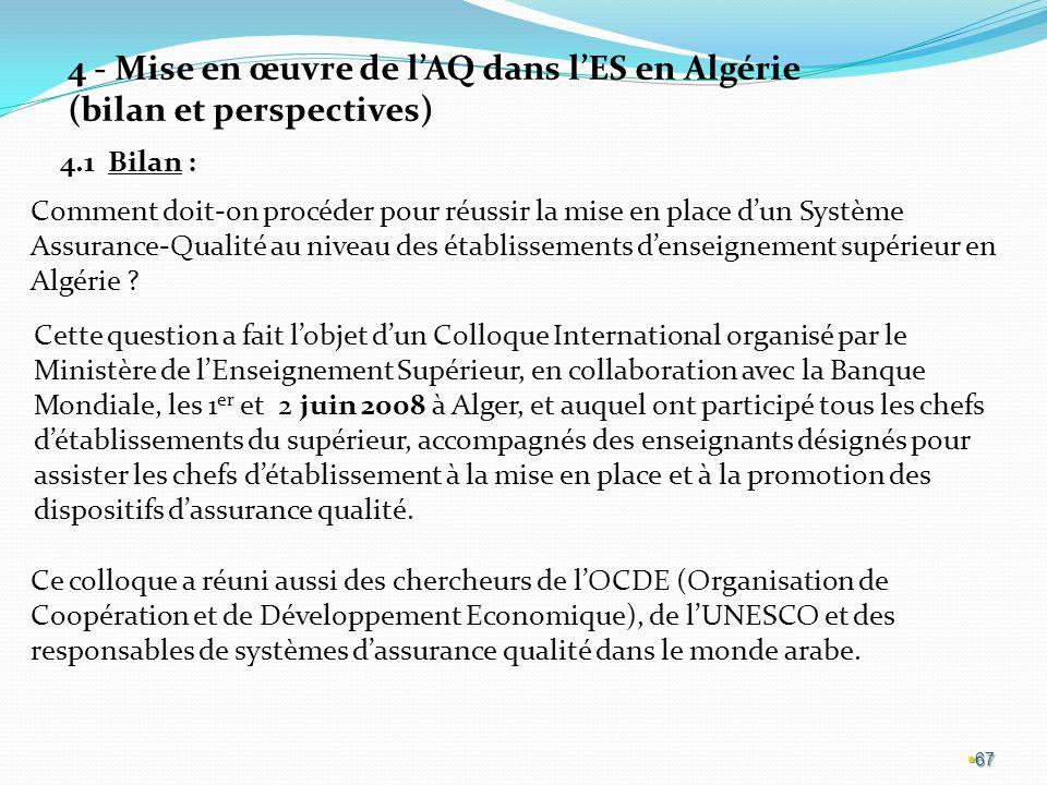 4 - Mise en œuvre de l'AQ dans l'ES en Algérie (bilan et perspectives)