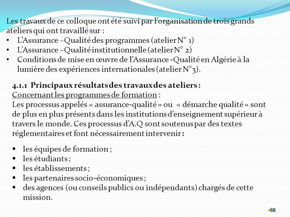 L'Assurance –Qualité des programmes (atelier N° 1)