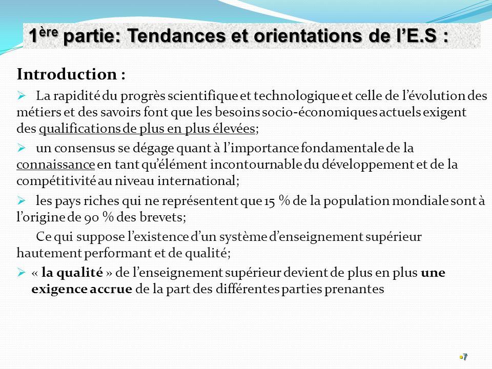 1ère partie: Tendances et orientations de l'E.S :