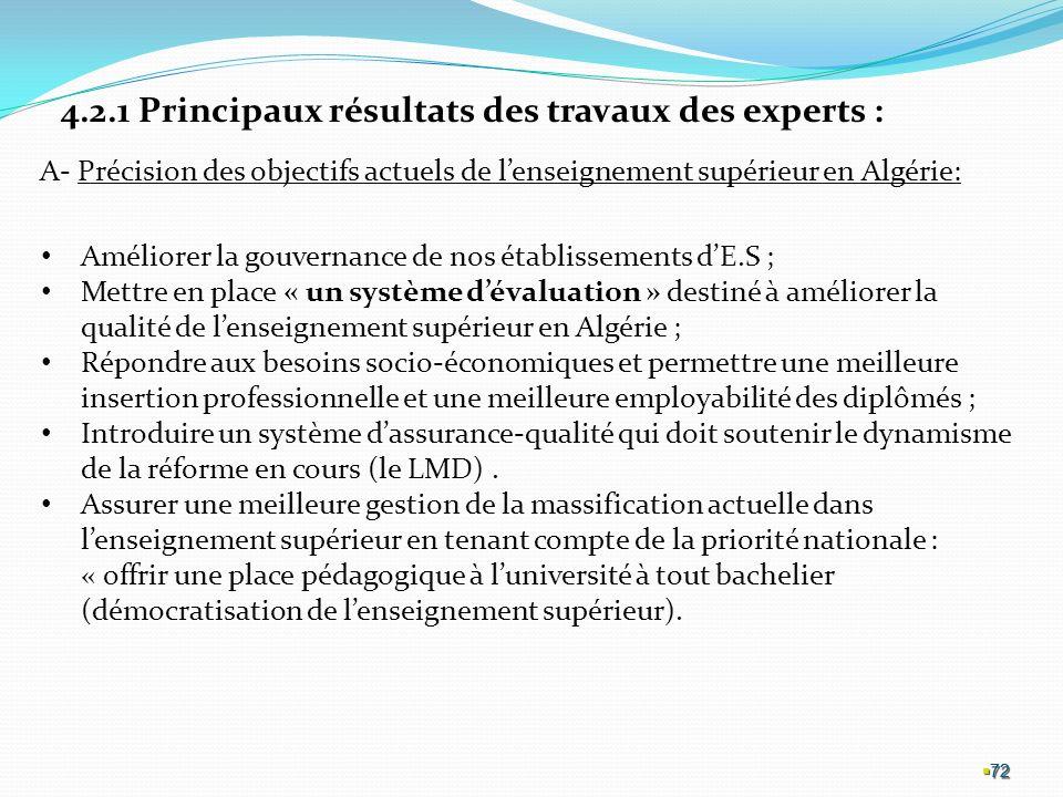 4.2.1 Principaux résultats des travaux des experts :