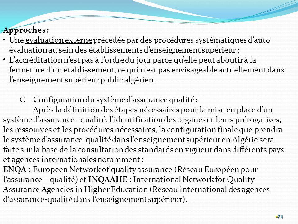 C – Configuration du système d'assurance qualité :