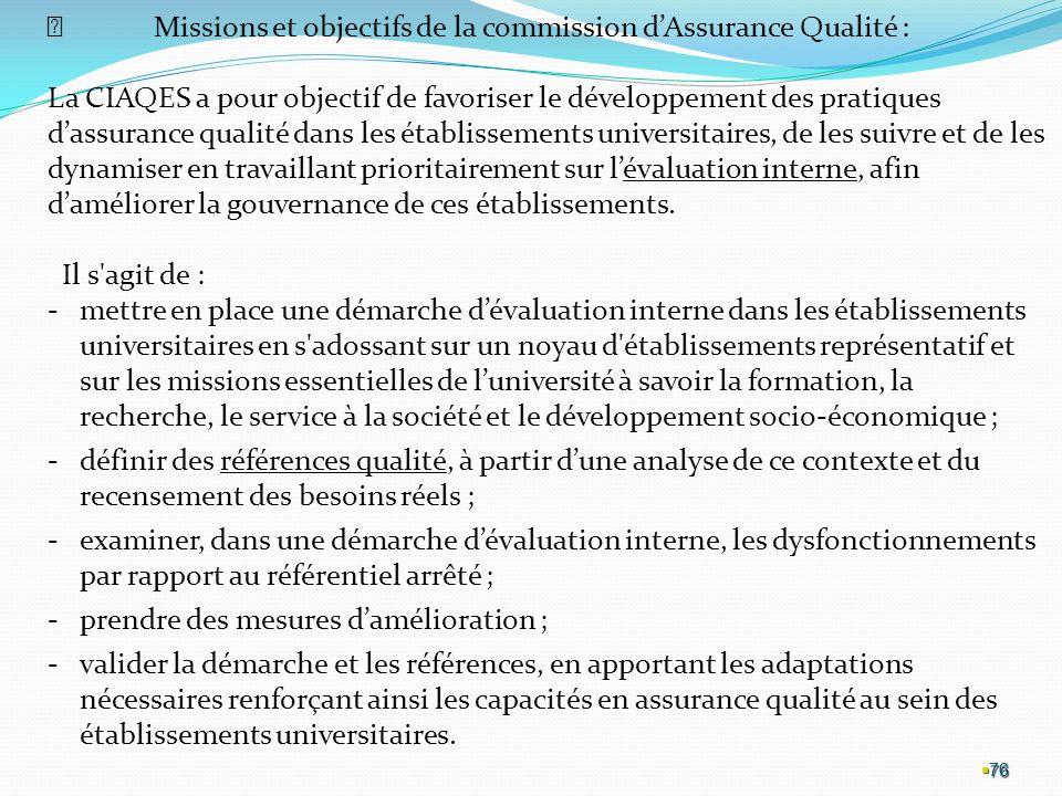  Missions et objectifs de la commission d'Assurance Qualité :