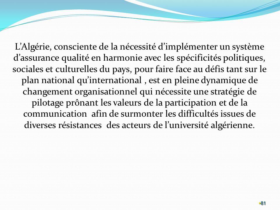 L'Algérie, consciente de la nécessité d'implémenter un système d'assurance qualité en harmonie avec les spécificités politiques, sociales et culturelles du pays, pour faire face au défis tant sur le plan national qu'international , est en pleine dynamique de changement organisationnel qui nécessite une stratégie de pilotage prônant les valeurs de la participation et de la communication afin de surmonter les difficultés issues de diverses résistances des acteurs de l'université algérienne.