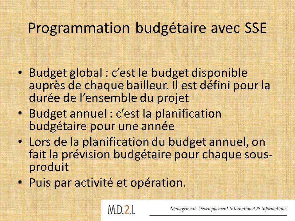 Programmation budgétaire avec SSE